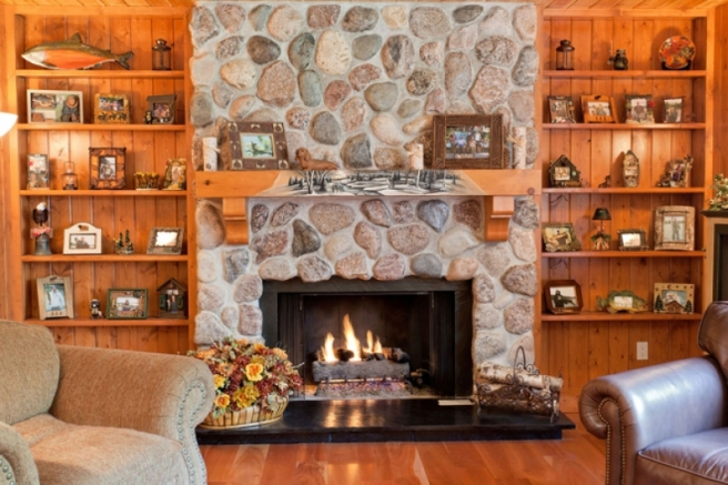Wisconsin, stone, fireplace, winter. cabin